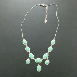 Silver Tone Mint Green  Cabachon Necklace